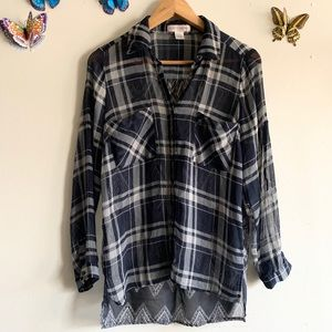 BAND OF GYPSIES XS SHEER BUTTONDOWN